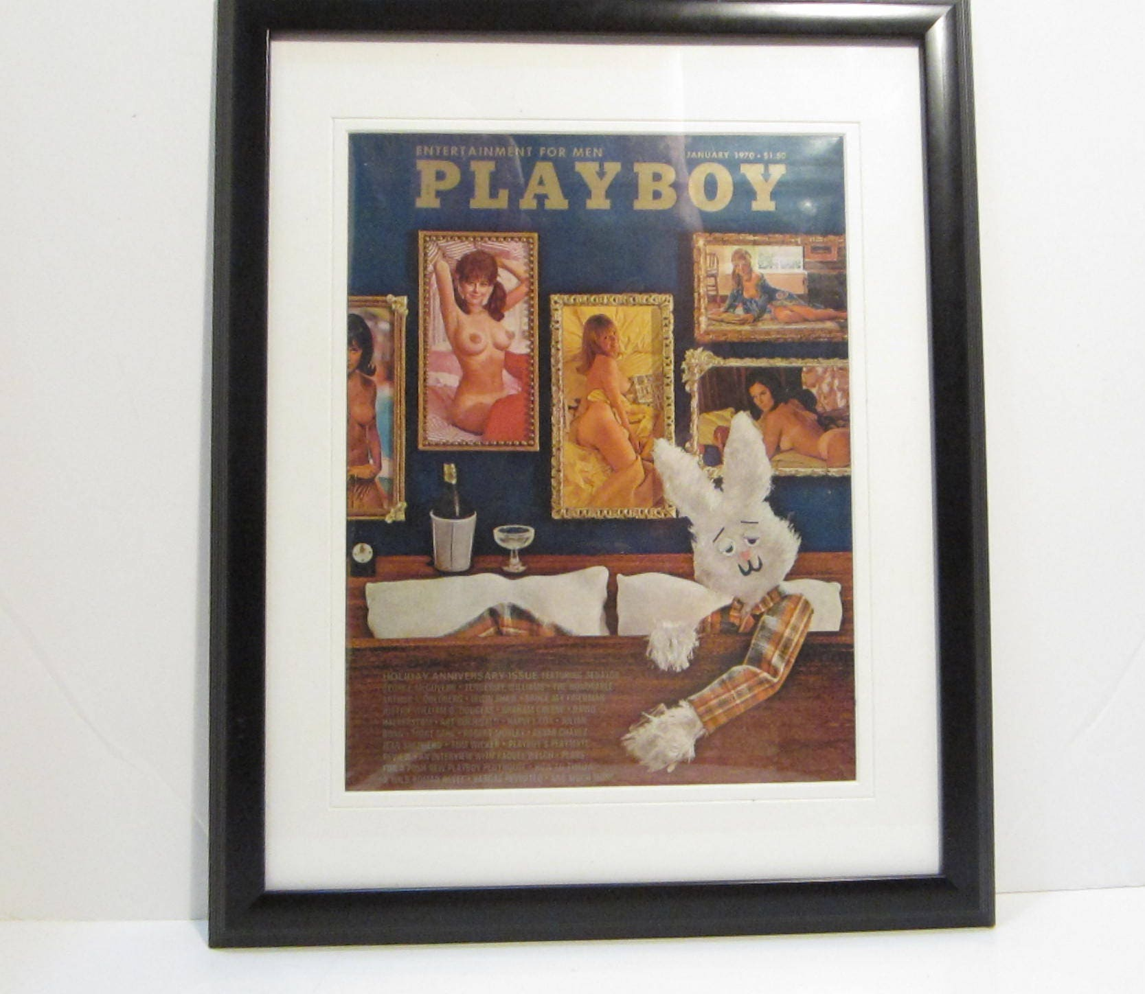 Vintage Playboy Magazine Cover Matted Framed January