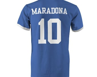 5189125150c Diego Maradona 10 Argentine Football Ringer T-Shirt Royal White