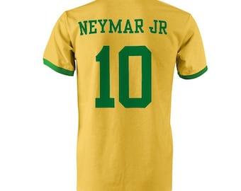 Neymar Jr 10 Brazil Football Ringer T-Shirt Yellow Green b43672648