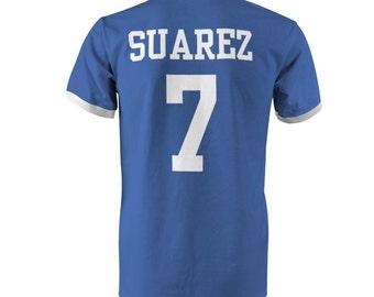 fe5ac1b1d Luis Suarez 7 Uruguay Football Ringer T-Shirt Royal White