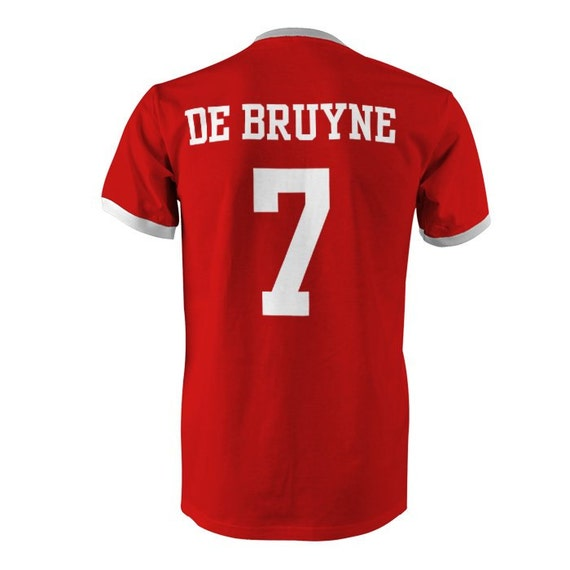 huge discount bc4ba 68dca Kevin De Bruyne 7 Belgium Football Ringer T-Shirt Red/White