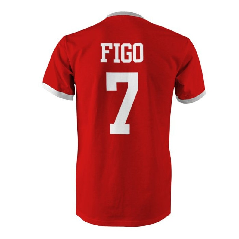 official photos 9e899 f0a5b Luis Figo 7 Portugal Football Ringer T-Shirt Red/White