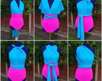 Swimsuit Multiway Infinity Convertible Turquoise Pink High Waisted Retro Swimsuit One piece Bathing suit Beach Swimwear made to order