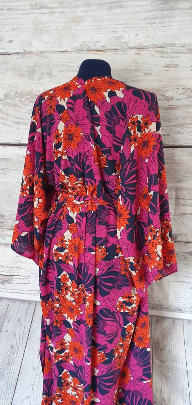 70s Dress Kimono dress Wrap Beach wear Kaftan dress Beach cover-up Kimono Kaftan Maxi Dress Kimono Wrap dress orange Maxi pink