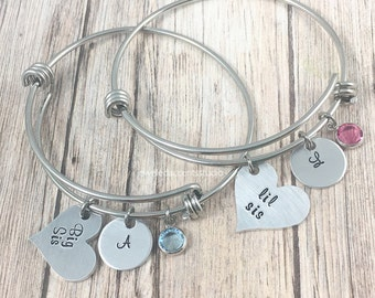 Matching Sister Bracelets, Big Sis, Lil Sis, Bangle Bracelets, Gifts For Sisters, Sister Bracelets For 2, Personalized, Girls Easter Gifts
