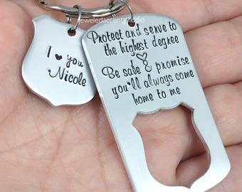 police keychain police officer gift protect and serve be safe and come home to me cop gift from wife academy graduation gift christmas