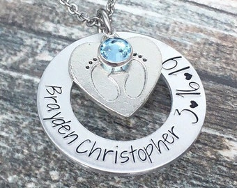 baby shower baby birthstones hand stamped mommy necklace personalized jewelry 12345 peas in a pod gifts for moms push birth gift twin