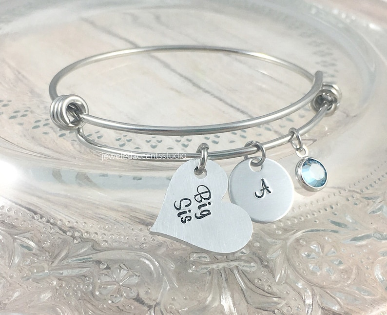 Big Sister Jewelry Bangle Bracelets New Sister Gift Personalized Teen Easter Sibling Gifts Big Sis Hand Stamped Big Sister Bracelet