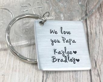 Papa Keychain, We Love You Papa, Personalized Grandpa Gift, Grandfather Keychain, Gift from Grandchildren, Grandkids Name Gift, Christmas