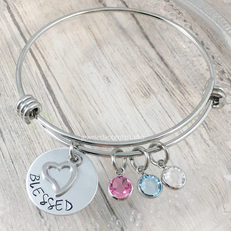 Birthsone Jewelry Blessed Bangle Bracelet Hand Stamped Jewelry Heart Charm Bracelet Mother/'s Bracelet Gifts for Grandma Christmas Gift