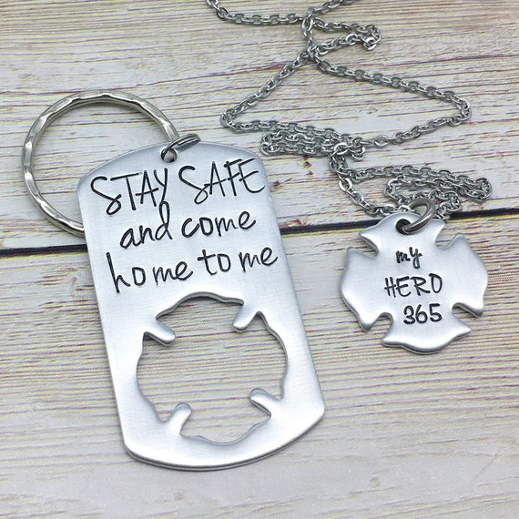 Firefighter Daughter Firefighter Necklace Keychain Firefighter Jewelry,Hand Stamped,Valentines Day Daddys Girl Necklace Fireman Gift Set