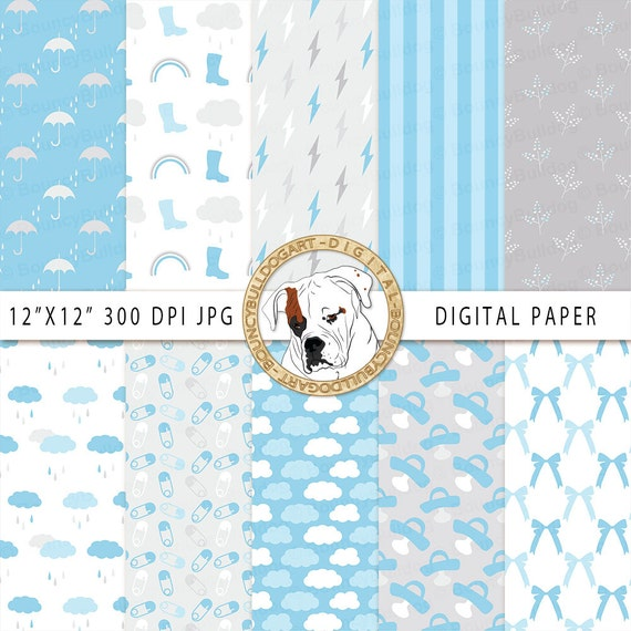 Baby Shower Digital Paper Blue Gray Baby Boy Commercial Use Etsy