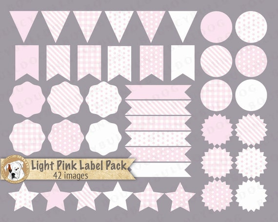 Pink label clipart vector baby shower clipart pennant flags | Etsy