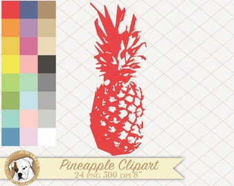 Pineapple clipart tropical clipart summer clipart vacation clipart digital fruit clipart surf commercial use instant download scrapbooking