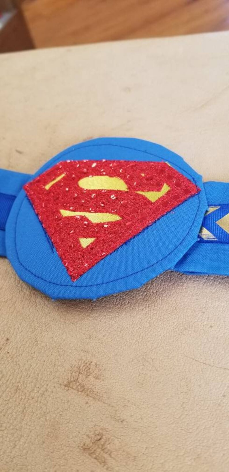 Blue Embroidered Superman Hero Character Headband
