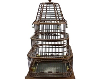 Antique Chinese Bamboo Bird Cage