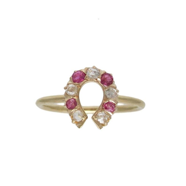 144ce1988bc4b Edwardian 14K Gold Ruby & Diamond Horse Shoe Conversion Ring