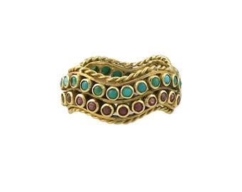 Vintage 22K Ruby & Turquoise Ring / Band