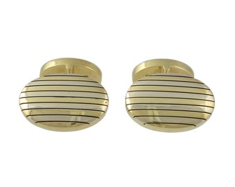 Heavy Tiffany & Co. 18K White and Yellow Gold Striped Cufflinks