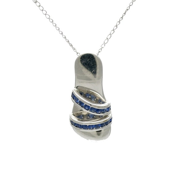 14K White Gold and Sapphire Sandal Pendant on Chai