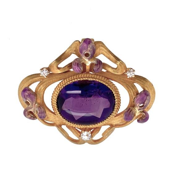 Krementz Art Nouveau Amethyst Enamel Iris Pendant