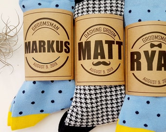 6eb6d1525932 Personalized Sock LABELS - Groomsmen Socks - Best Man Socks - Custom  Printed Sock LABELS - Wedding Socks Personalized Gifts