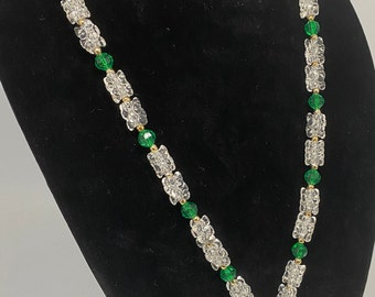 "Vintage Clear Tri-Bead & Green Round Bead w/ Multi Bead Tassel w/ Gold Metal Accents 27"""