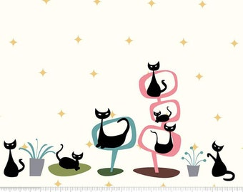 Border, Black Cat, Cream, Mod Meow, 10286, Riley Blake, cotton quilt, cotton designer, (Reg 3.76-21.91)