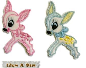 Embroidered badge, Fawn, 12cm X 9cm, sewing, badge, sewn patch, decoration, washable, embroidery on white, fluffy, (Reg 5.40)