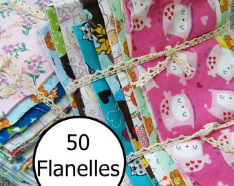 50 pieces, Flannel, differents prints, excellent quality, FE, FQ, 1/4 yard, square,  and more