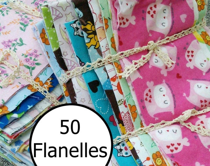 Featured listing image: 50 pieces, Flannel, differents prints, excellent quality, FE, FQ, 1/4 yard, square,  and more