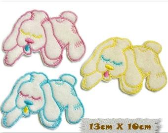 Embroidered badge, Puppy, 13cm X 10cm, sewing, badge, sewn patch, decoration, washable, embroidery on white, fluffy, (Reg 6.50)