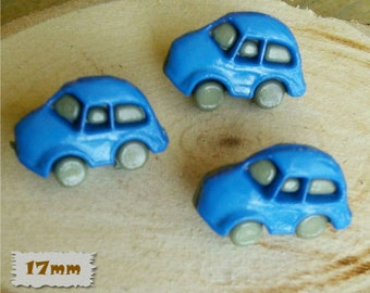 3 Buttons, Char, Blue, 17mm, Fancy Button, BF51, Fancy Button, 1980, Vintage, Casein, (Reg 1.80)