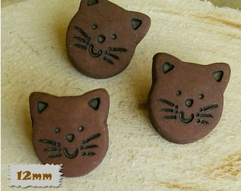 "3 Buttons, Cat, Brown, 1/2 "", 12mm, Polyester, Casein, Vintage, 1980, Fancy Button, Solid Button, BF50, (Reg 1.80)"