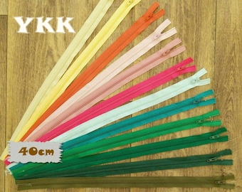 2 YKK, 40cm, 2 zipper, #3, 16 inchs, varied color, varied size, nylon, perfect for wallets, clothing, repair, creation, Z40