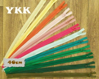 YKK, 40cm, zipper, #3, 16 inchs, varied color, varied size, nylon, perfect for wallets, clothing, repair, creation, Z40, (Reg 1.55-18.60)