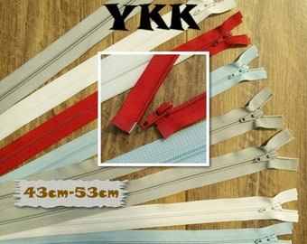 YKK, Zipper, SEPARABLE, nylon, 42cm, 43cm, 44cm, 53cm, clothing, creation, ZG4253, (Reg 4.99-5.99)