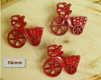 3 Buttons, 16mm, tricycle with basket, red, Vintage, 1980s, GR05, (Reg 1.80)