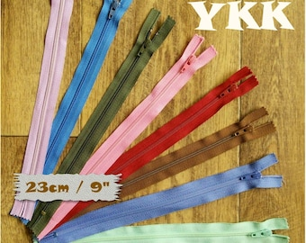 2, YKK, 23cm, 2 zipper, 9 pouce, #3, vintage, nylon, perfect for wallets, clothing, repair