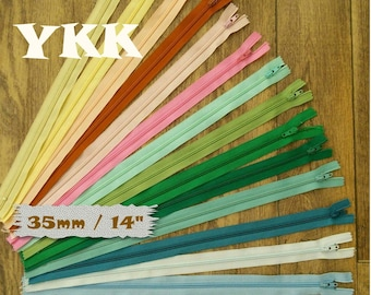 2 YKK, 35cm, 2 zipper, 14 inch, nylon, slider # 3, for pockets, vintage, 1980, clothing, creation, Z35