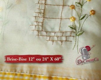"Breeze, Country, yellow checked cotton, ivory curtain, 12 ""or 24"" high, cotton, polyester, washable, decorative,"