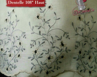 "Curtain Lace, IVORY, flowers gray and black, 108 "" (274cm), NOT made, polyester, washable, decorative,"
