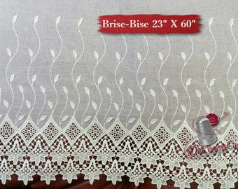 "Brise-Bise, Ivory, 23"" X 48 or 60"", (58cm X 120cm or 150cm), NO NEED for COUTURE, polyester, washable, decorative,"