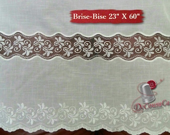 "Brise-Bise, Ivory, 23"" X 60"", (58cm X 150cm), NO NEED for COUTURE, polyester, washable, decorative,"
