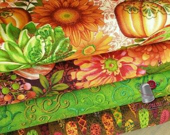 4 prints, Pumpkin, leaf, flowers, Fall Festival, Studio E, bundle, 1 of each print, 100% Cotton