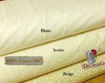"108 ""wide, Flower, ideal for quilting undergarments, Camelot Fabrics, 100% cotton, quilting cotton, choice of beige, ivory, white"