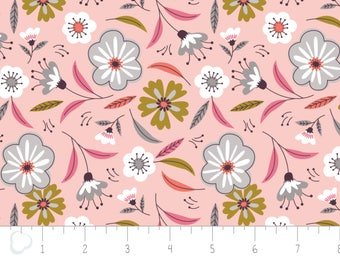 Captivate, flower, pink, 2240701, col 02, Camelot Fabrics, multiple quantity cut in one piece, 100% Cotton