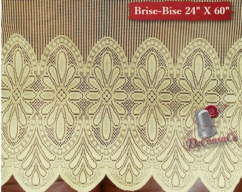 "Brise-Bise, Beige, 24"" X 60"", (60cm X 150cm), NO NEED for COUTURE, polyester, washable, decorative, (Reg 30.39)"