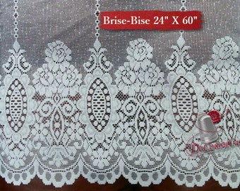 "Brise-Bise, White, 24"" X 60"", (60cm X 150cm), NO NEED for COUTURE, polyester, washable, decorative,"