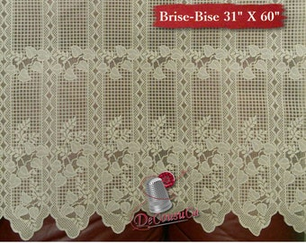 "Brise-Bise, Beige, 31"" X 60"", (78cm X 150cm), NO NEED for COUTURE, polyester, washable, decorative,"